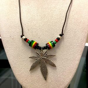 Weed Leaf Pendant Necklace on Leather